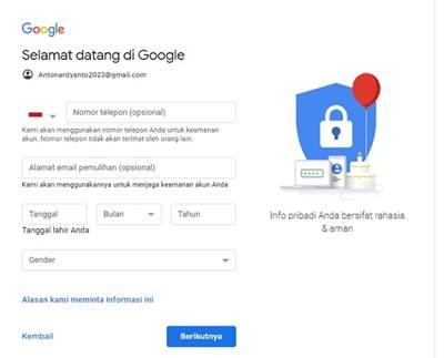 Cara Buat Blog Di Blogspot - buat akun Google - masukkan nomor ponsel dan alamat email pemulihan