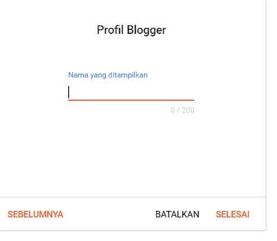 Cara buat blog di Blogspot bagian memasukkan profile blogger