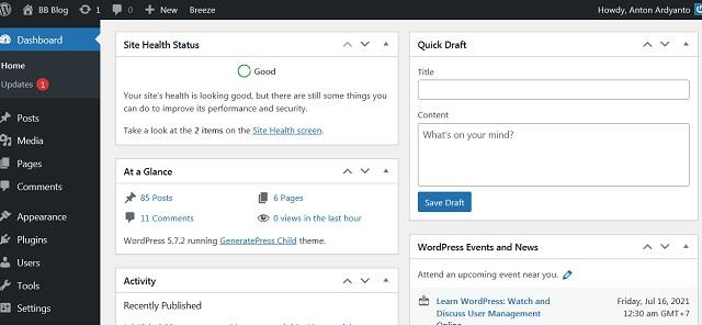 Menyederhanakan Tampilan Dashboard Wordpress